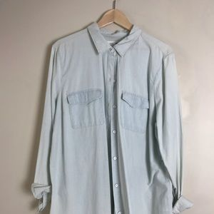 Light Blue Faded Look Button Up Shirt NWT